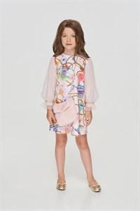 Платье с рукавами-фонариками и акссесуаром